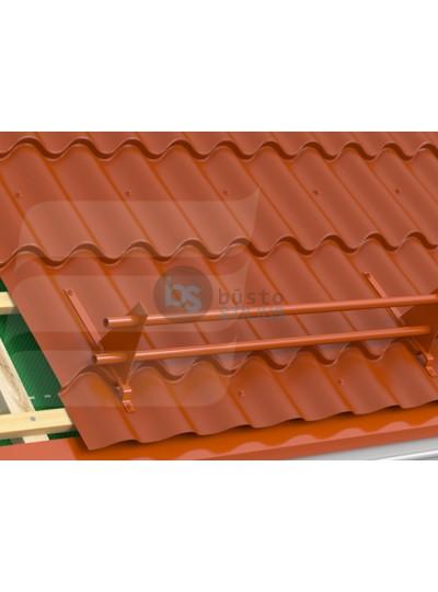 Vamzdinės apsaugos nuo sniego komplektas, 2 m, RAL 8019 tamsiai rudas, čerpiniam skardiniam stogui